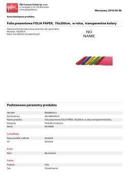 Folia prezentowa FOLIA PAPER, 70x200cm, w rolce, transparentne