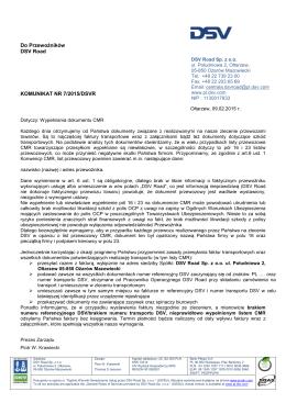 Do Przewoźników DSV Road KOMUNIKAT NR 7/2015/DSVR