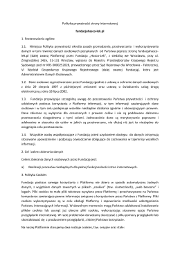 Polityka prywatności strony internetowej fundacjahasco