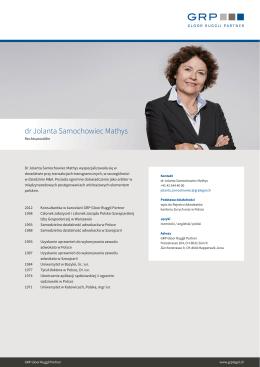 dr Jolanta Samochowiec Mathys