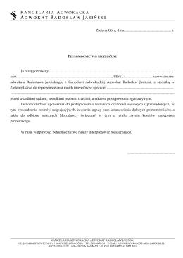 Pełnomocnictwo - Adwokat Radosław Jasiński