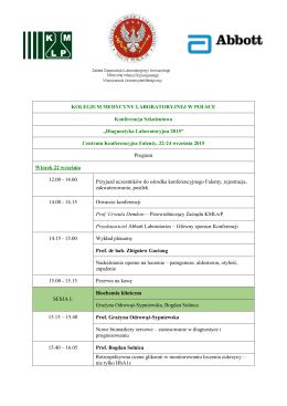 Program Konferencji - Kolegium Medycyny Laboratoryjnej w Polsce