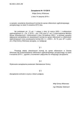 Zarządzenie Nr 131/2015 Wójta Gminy Wiśniowa z dnia 14 sierpnia