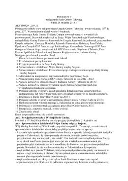 Protokół Nr V posiedzenia Rady Gminy Tułowice z dnia 29 stycznia