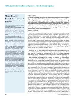 Molekularne strategie terapeutyczne w chorobie Huntingtona