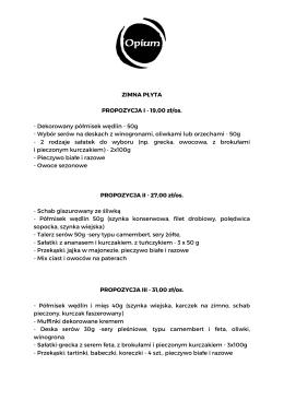 ZIMNA PŁYTA PROPOZYCJA I - 19,00 zł/os.