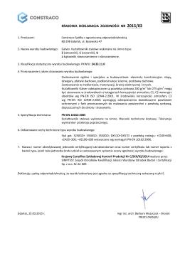 KRAJOWA DEKLARACJA ZGODNOŚCI NR 2015/03