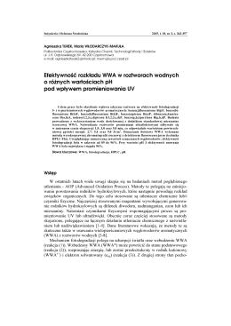 Efektywność rozkładu WWA w roztworach wodnych o różnych