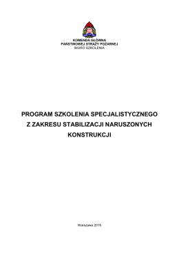 Program szkolenia specjalistycznego z zakresu stabilizacji