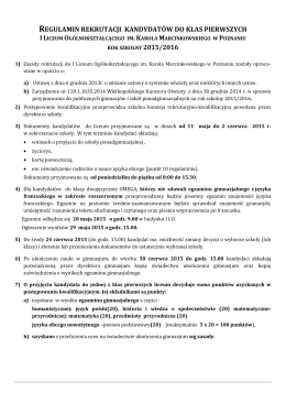 regulamin i harmonogram rekrutacji