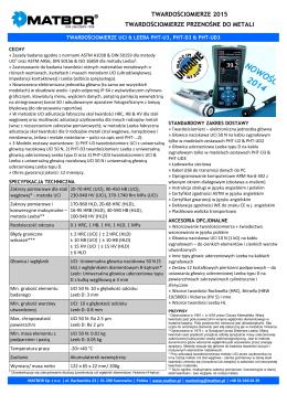 Twardościomierz Leeb&UCI PHT-UD3 - Broszura Produktu