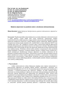 Badania odporności na przebicie struktur wielowarstwowych