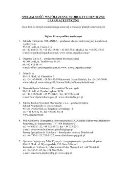 Lista firm - Współczesne produkty chemiczne i