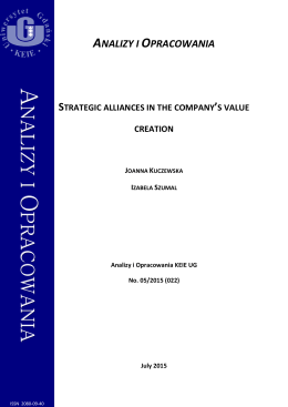 Strategic alliances in the company`s value creation
