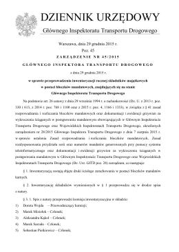 zarządzenie nr 45/2015 Głównego Inspektora Transportu