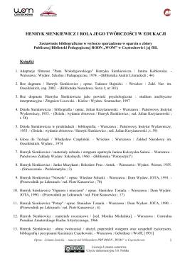 Henryk Sienkiewicz i rola jego twórczości w edukacji
