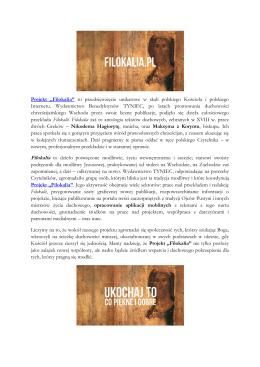 """Projekt """"Filokalia"""" to przedsięwzięcie unikatowe w skali polskiego"""