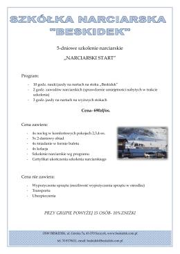 """5-dniowe szkolenie narciarskie """"NARCIARSKI START"""""""