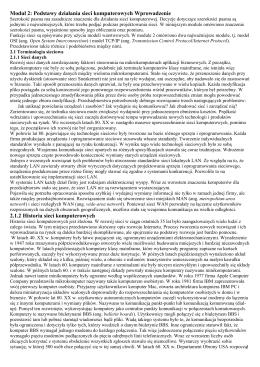 Moduł 2: Podstawy działania sieci komputerowych Wprowadzenie