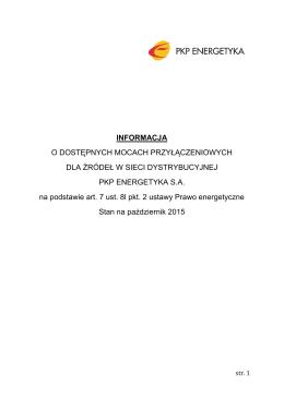 Październik 2015 - INFORMACJA o dostępnych