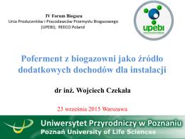 Poferment z biogazowni jako źródło dodatkowych dochodów