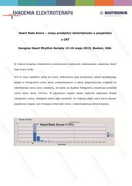 Heart Rate Score-nowy predyktor śmiertelności u pacjentów z
