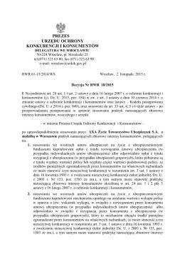 Decyzja Nr RWR-18/2015