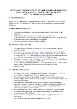 Regulamin i karta zgłoszenia Powiatowego Konkursu