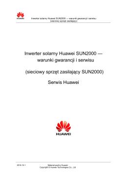 Inwerter solarny Huawei SUN2000 — warunki gwarancji i serwisu