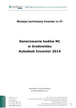 Generowanie kodów NC w środowisku Autodesk Inventor