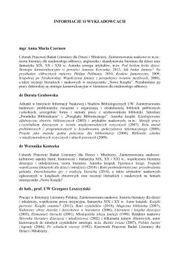 Pobierz informacje o wykładowcach w pliku PDF