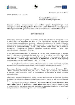 powtórne Zawiadomienie o wynikach przetargu 28.04.2015