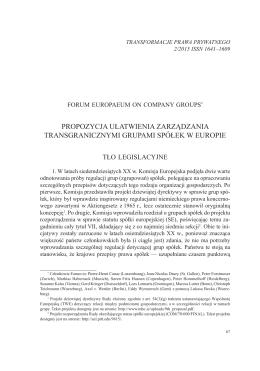Propozycja ułatwienia zarządzania transgranicznymi grupami