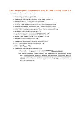 Lista ubezpieczycieli akceptowanych