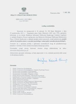 Pismo MPiPS - 15 wrzesień 2015