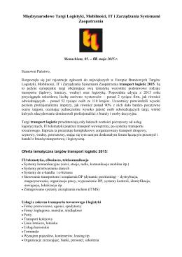 Informacje dla wystawców TRANSPORT & LOGISTIC 2015