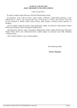 Uchwala Nr 38/X/2015 z dnia 27 maja 2015 r.