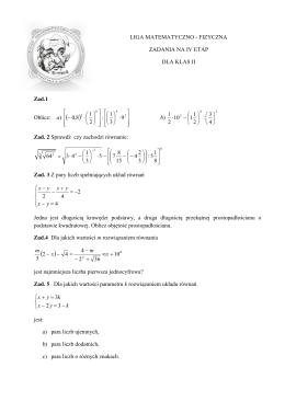 Zadania na IV etap kl. II
