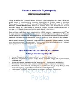 Korzyści dla Pacjentów - Stowarzyszenie Fizjoterapia Polska