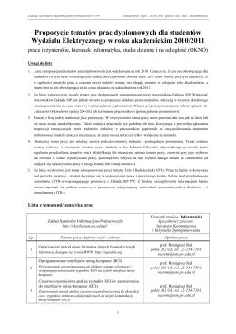 Informatyka – studia stacjonarne i niestacjonarne – prace inżynierskie
