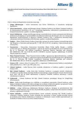 Regulamin korzystania z usług informacyjnych