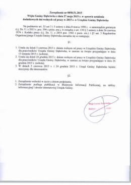 Zarządzenie nr 0050.51.2015 Wójta Gminy Dąbrówka z dnia 27