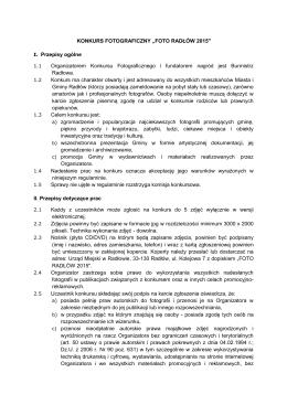 Regulamin oraz karta zgłoszenia