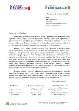 Warszawa, 22 października 2015 Pani Katarzyna Lepis Dyrektor