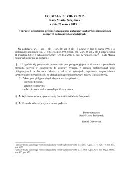 VIII/45/2015 w sprawie uzgodnienia przeprowadzenia prac