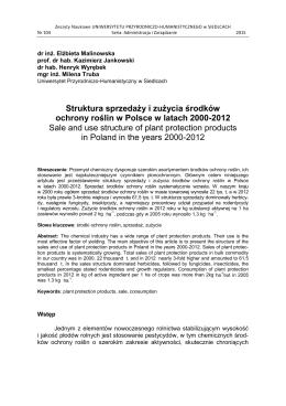 Struktura sprzedaży i zużycia środków ochrony roślin w Polsce w
