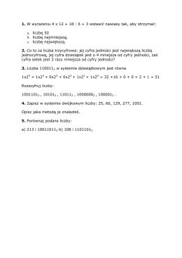 1. W wyrażeniu 4 x 12 + 18 : 6 + 3 wstawić