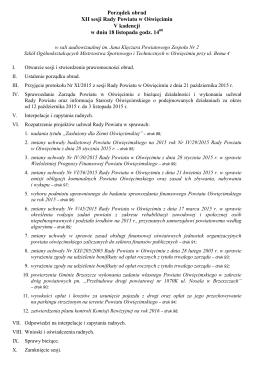(12) Porządek obrad XII sesji RP V kadencji (18.11.2015 r.)