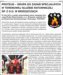 PROTEUS – gRUPa dO zadań SPEcjalnych w TEREnOwEj SłUżbiE