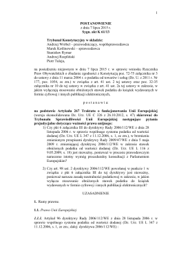 1 POSTANOWIENIE z dnia 7 lipca 2015 r. Sygn. akt K 61/13
